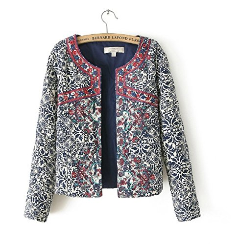 2016 New Blue And White Round Neck Jacket Embroidary Jacket Women Women Embroidery Slim Jacket Size:XL
