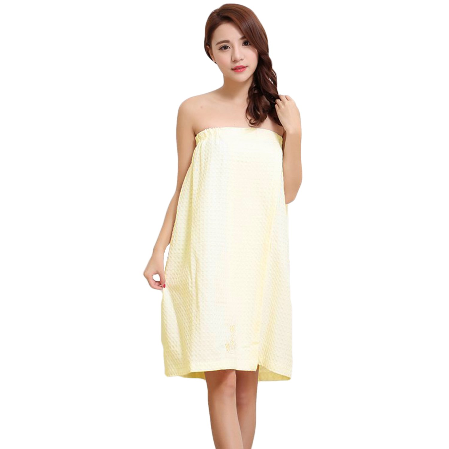 b640036b8b Women s Cotton Bathrobe Cover Up Elastic Wearable Soft Beach Spa Shower  Bath Wrap Around Towel Tube Dress  Amazon.co.uk  Clothing