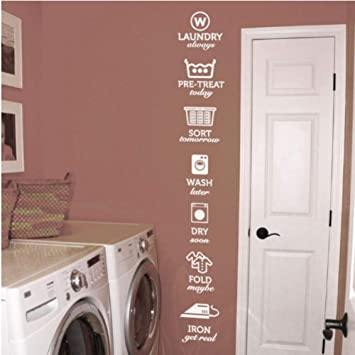 Amazon Com Iusasdz Wash Dry Fold Iron Laundry Room Decoration Vinyl Art Removable Poster Mural The Rules Of Laundry Decals Stickers 21x146cm A Baby