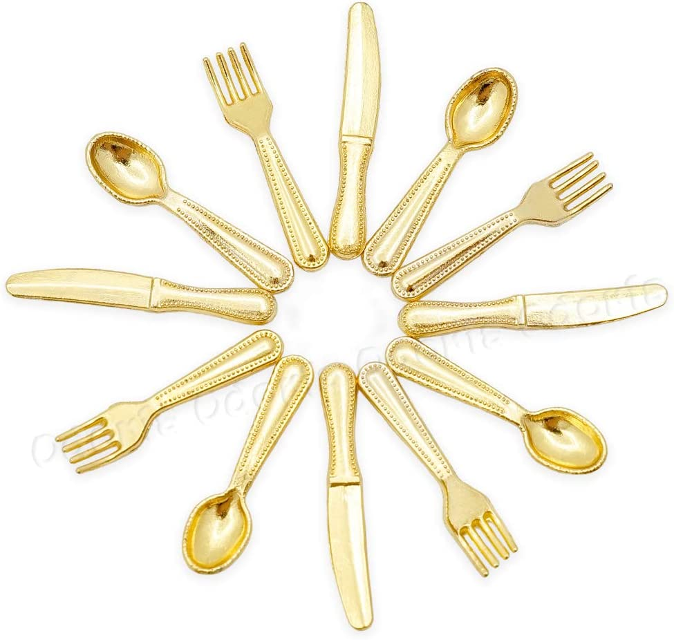 Cutlery 12 Pieces Gold Metal 1:12 Miniature Dolls House Doll