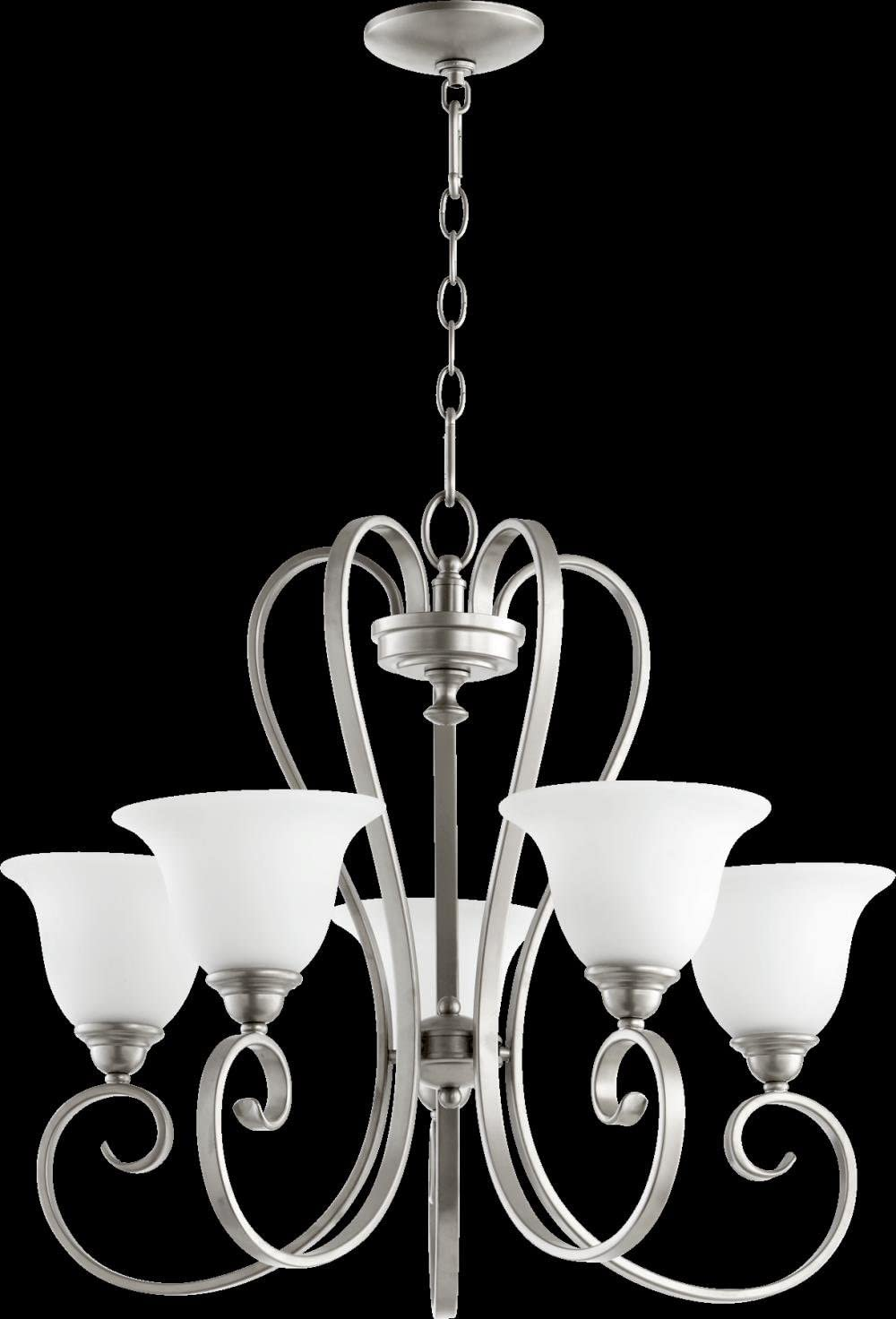 Quorum 6053-5-64 Celesta – Five Light Chandelier, Classic Nickel Finish with Satin Opal Glass