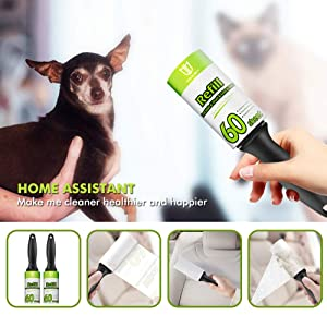 Degbit Lint Rollers for Pet Hair, [Upgraded Extra Sticky] Pet Hair Remover, Lint Remover [300 Sheets/5 Refills], Lint Roller Set Brush for Dog & Cat Hair Removal, Clothes, Furniture, Laundry