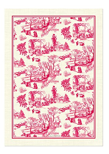 Christmas Tablescape Décor - Natural cotton Christmas wonderland red & white toile kitchen towel