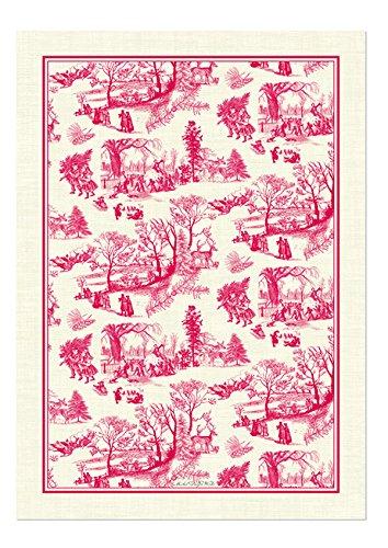 Christmas Tablescape Décor - Natural cotton Christmas wonderland red & white toile kitchen towel