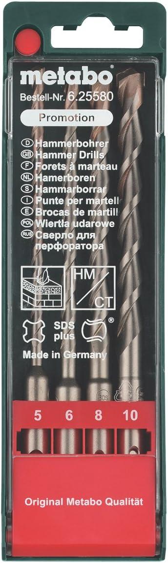 Metabo 625580000 625580000-Estuche SDS-Plus Set de 4 Piezas Brocas con Longitud de 160 mm di/ámetros de 5 mm 6 mm 8 mm y 10 mm
