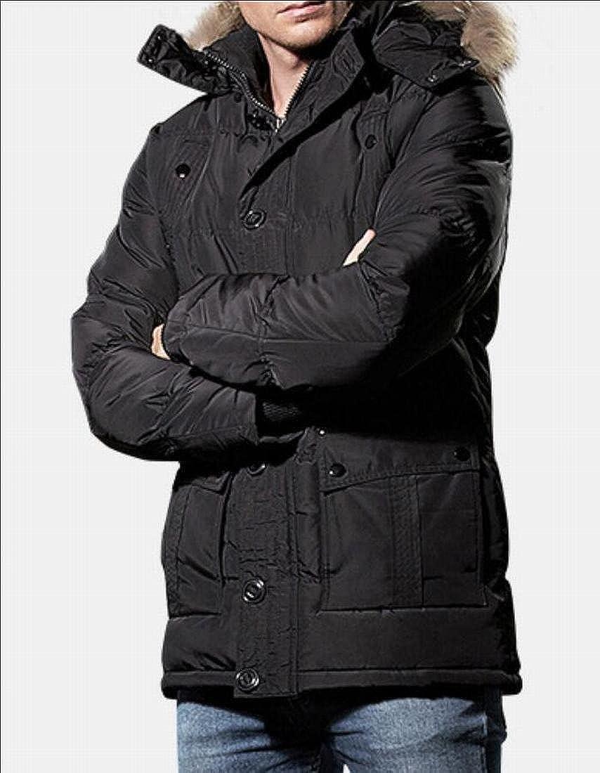 desolateness Mens Winter Thick Long Down Puffer Jacket Hooded Outwear Overcoats