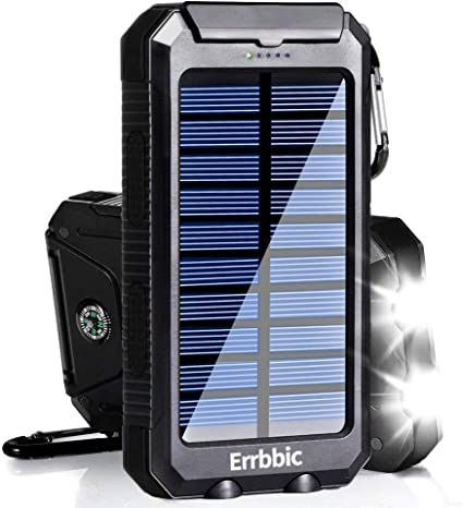 Solar Power Bank 10000mAh Solar Charger Waterproof Portable External Battery USB Charger Built in LED light with Compass for iPad iPhone Android ...