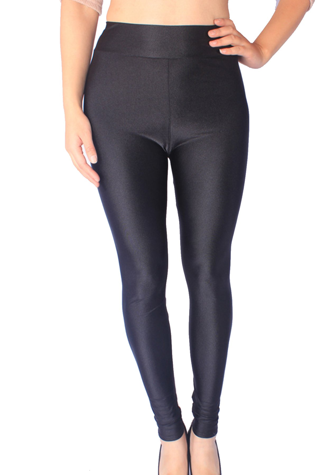 Minghe Ladies High Waist Thin Leggings Strechy Full Length Pants Plus Size Black 3X-Large