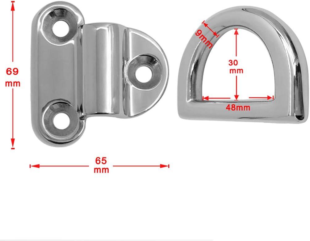KESOTO 2 er Set Edelstahl Halterung Augplatte mit Ring Zurr/öse Deckenhaken Wand/öse /Ösenplatte