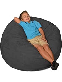 Comfy Sacks 3 Ft Memory Foam Bean Bag Chair, Charcoal Micro Suede