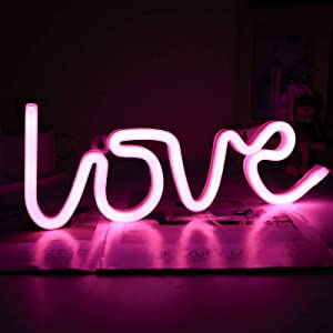 Neon Signs Love Led Neon Lights Bedroom Wall Decor Pink Room Decoration for Teen Girls Battery Operated Light for Living Room, Wedding, Party
