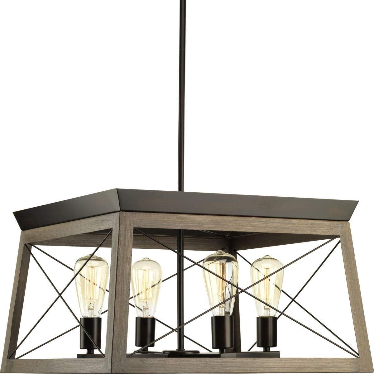 Briarwood Collection Rich Oak Four-Light Farmhouse Chandelier