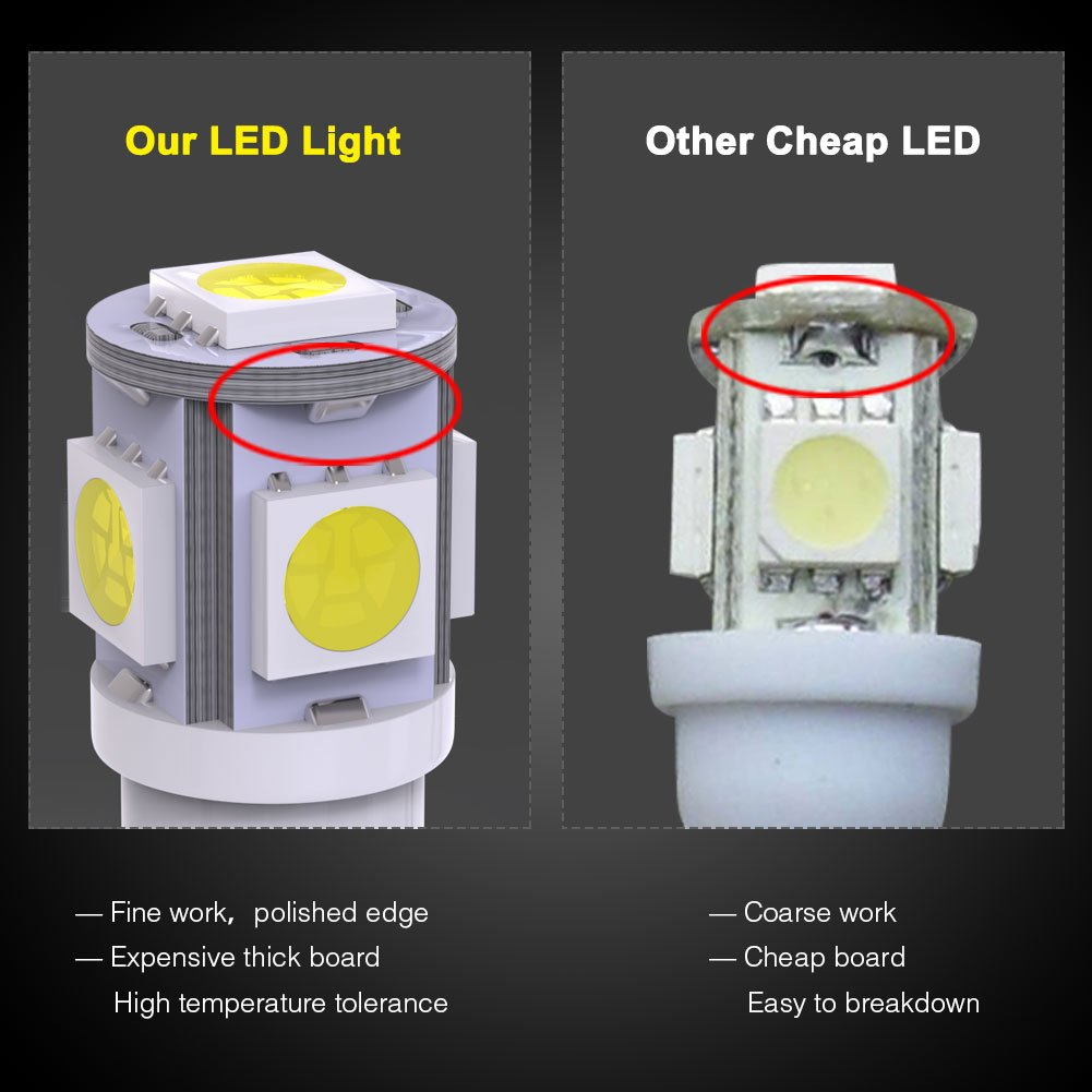Yitamotor 20x T10 Wedge 5 Smd 5050 White Led Light Bulbs Circuit Board Partselectrical Components Buy Pcbausb W5w 2825 158 192 168 194 Interior Reading Dome Map Cargo Trunk Door Doorstep Courtesy