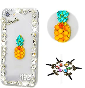 STENES iPhone 5C Case - Stylish - 100+ Bling Crystal - 3D Handmade Pineapple Design Protective Cover Case for iPhone 5C - Yellow