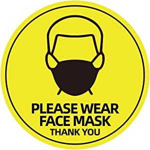 """5 Pack 8"""" Please Wear Face Mask Sign Sticker, Public Safety Decal, Face Cover Required Marker, Weatherproof Vinyl Entry Reminder Label for Wall Door Glass Signage"""