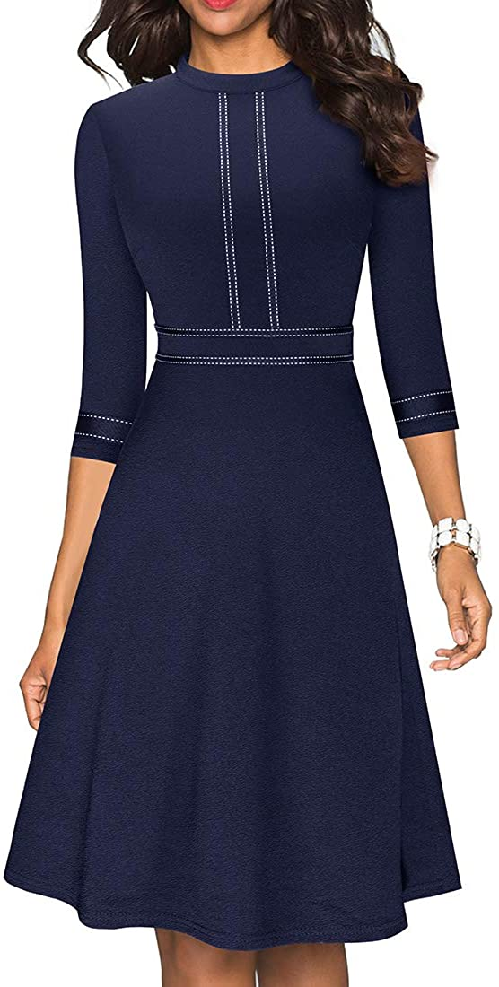 HOMEYEE Womens Chic Crew Neck 3//4 Sleeve Party Homecoming Aline Dress A135