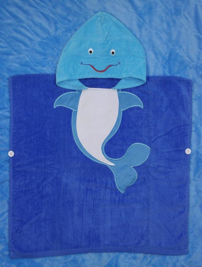 HiMan Cute Animals Kids Bath Cloak Bathing Large Soft Absorbent Towels Bathrobes with Hat (Whale)