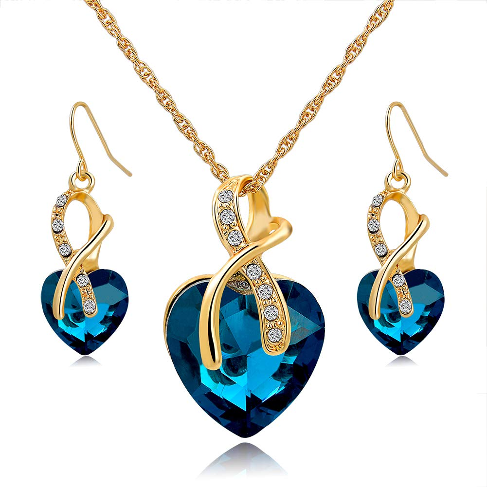 3e33d0e75e5 Amazon.com  Long Way Austrian Crystal Fashion Heart Jewelry Sets Necklace  Earrings Wedding  Jewelry