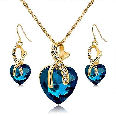 Long Way Austrian Crystal Fashion Heart Jewelry Sets Necklace Earrings  Wedding 34598efc8137