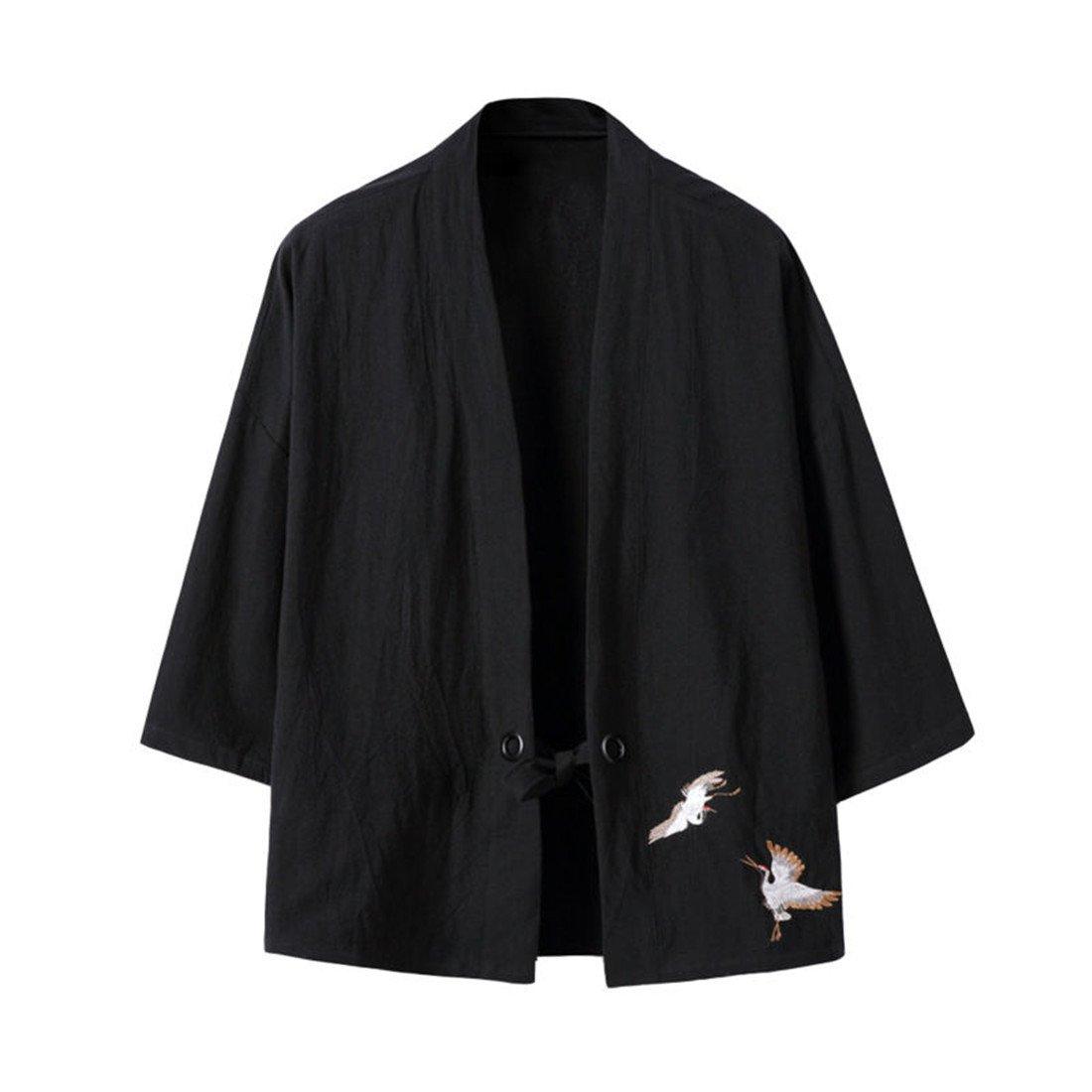 Hzcx Fashion Men's Cotton Blends Linen Open Front Cardigan Kimono Jackets QT4018-M708-60-B-US L(42) TAG 3XL Black by Hzcx Fashion