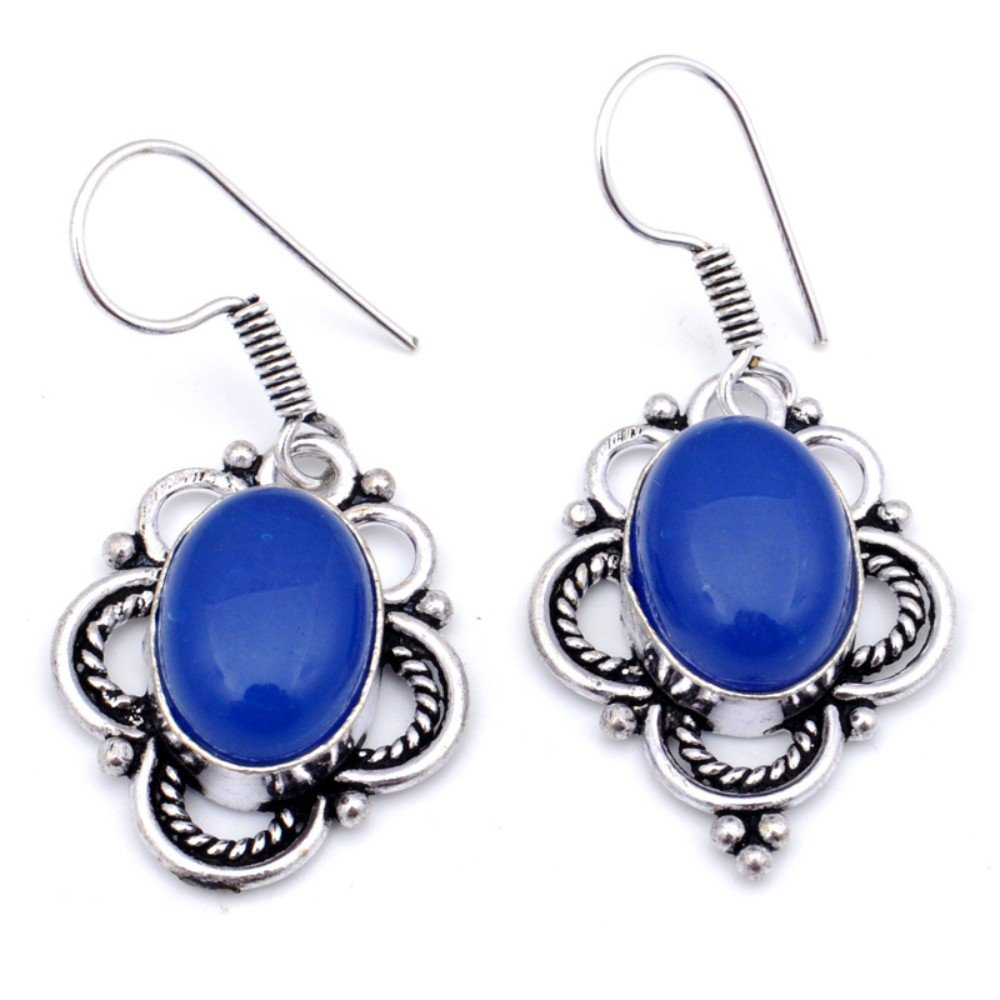 Blue Chalcedony Sterling Silver Overlay Earring 1.5 Handmade Jewelry Latest Design