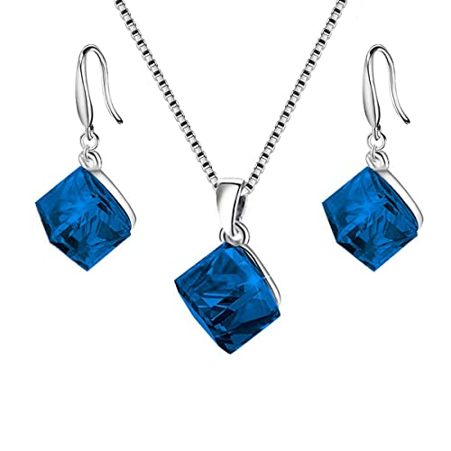 da7a298c23570 Uloveido Girl's Square Cube Authentic Austrian Crystal Hook Earrings and  Rainbow Necklace Sets for Women - 925 Sterling Silver Wedding Engagement ...