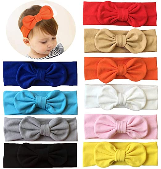 Qandsweet Baby Girl s Elastic Headbands Hair Accessories for Take Photos  (10 Pack Bow-tie 86721073d2b