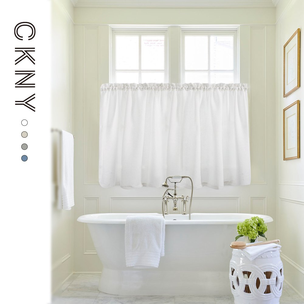 24 inch White Kitchen Tiers Semi Sheer Café Curtains Rod Pocket Casual Weave Textured Half Window Curtains for Bathroom 2 Panels by jinchan (Image #5)