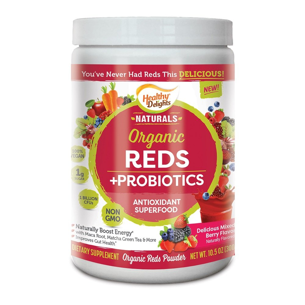 Healthy Delights Naturals, Organic Reds Probiotic's Powder, Antioxidant Superfood, Naturally Boost Energy, Non-GMO, Delicious Mixed Berry Flavor, 30 Servings by Healthy Delights