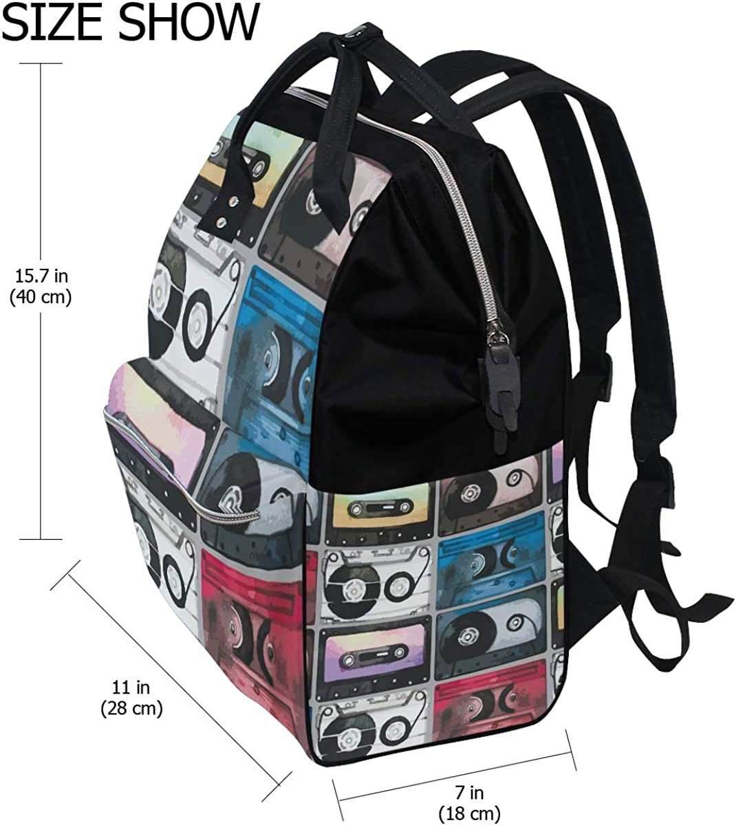 School Backpack Tape Collection Bag Student Stylish Unisex Laptop Book Bag Rucksack for Teen Boys and Girls