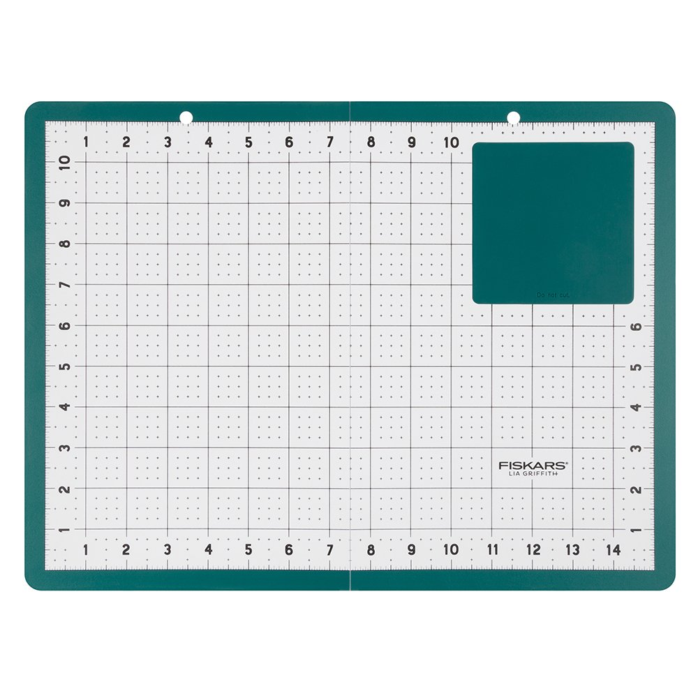 Fiskars 122130-1002 Lia Griffith Signature Folding Cutting Mat 16x12 Inch with Heatproof Zone, Teal Green/White