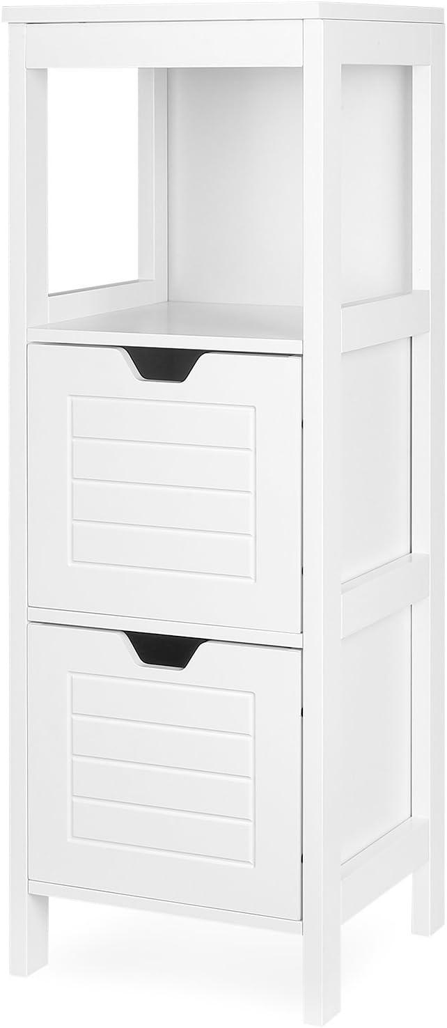 Homfa Wooden Bathroom Storage Cabinet 2 Adjustable Drawers Bathroom Cupboard Free Standing Storage Unit White 30x30x89cm