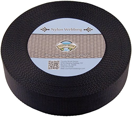 Country Brook Design   2 Inch Black Heavy Nylon Webbing, 10 Yards by Country Brook Design