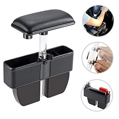 LILER Car Elbow Support Pads and Seat Pockets, Car Console Side Organizer Seat Gap Filler Catch Caddy, Car Central Adjustable Height Comfort Armrest Rest Pads (Black): Automotive