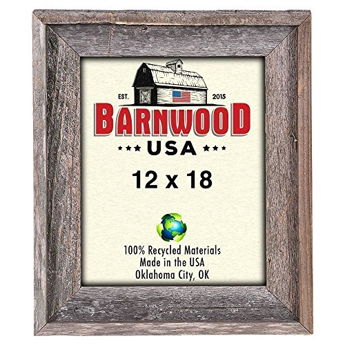 BarnwoodUSA Rustic Signature 12x18 Inch Picture Frame - 100% Reclaimed Wood, Weathered Gray