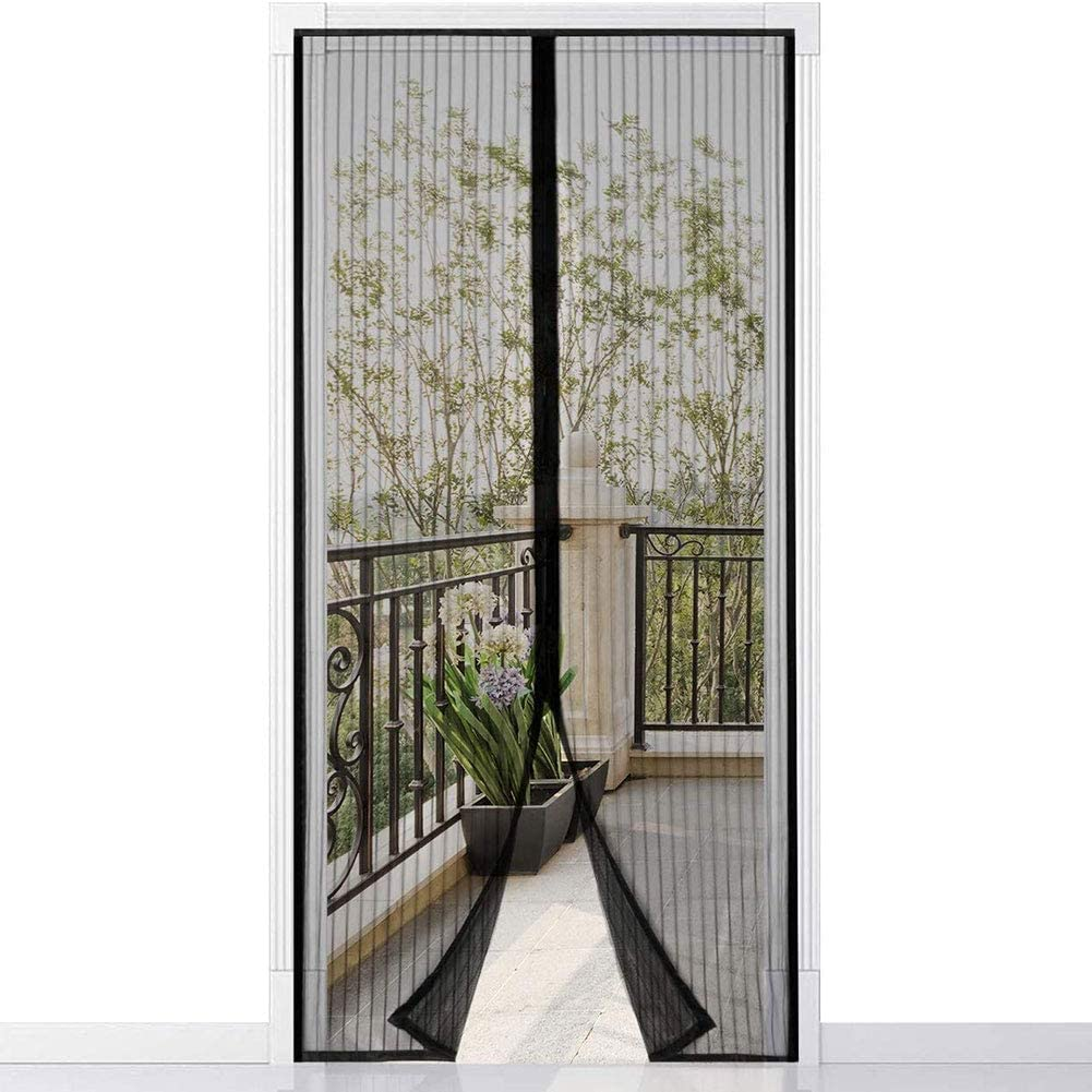 Supports Customization YNND Magnetic Fly Insect Screen Door, Mosquito Proof Curtain Magnet and Tape Waterproof Mosquito Net Black for Living Room Window Balcony