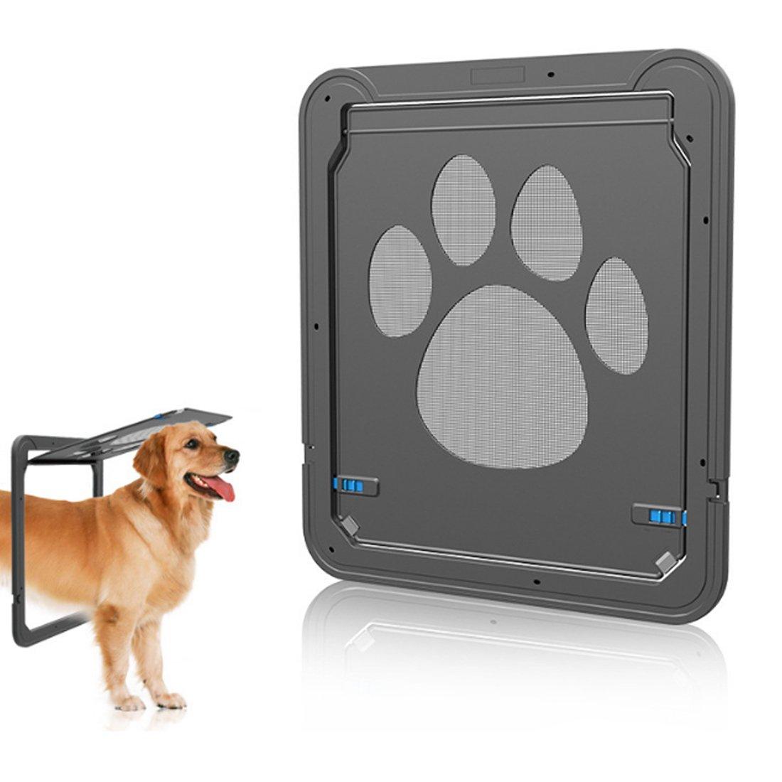 OviTop Haustierklappe 37 x 42 cm, Anti-Scrape Haustierklappe für Hund Katze - Schwarz