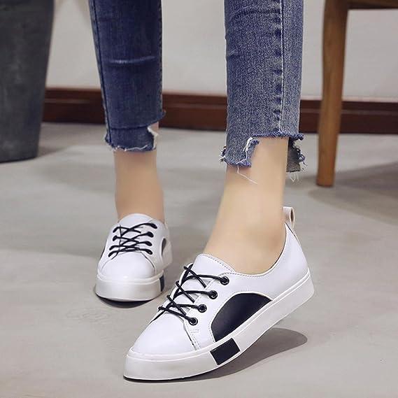 Zapato deportivo mujer caminar, Covermason Calzado deportivo para mujer con tacón plano con cordones Zapatos informales: Amazon.es: Ropa y accesorios