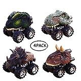 Hercugifts-Dcar Dinosaur Pull Back Car Boys Gift Vehicle Toy Car Playsets Animal Dinosaur Toys Truck Big Wheels Tires Design Kids Toddlers Fun Pack of 4