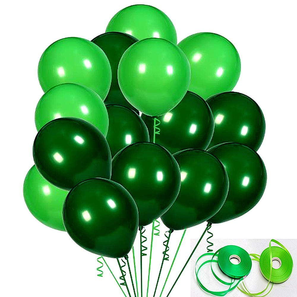 100Pack Green Balloons, 12Inch Green Latex Balloons Premium Helium Quality Dark Green Balloons Light Greeen Balloons for Party Supplies and Decorations(with Green Ribbon)