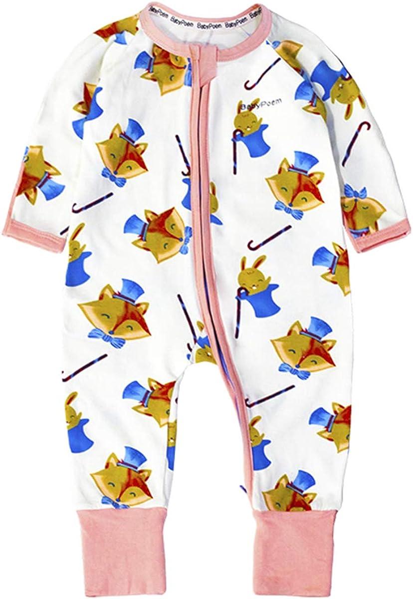 Paridane Baby Unisex Cotton Coveralls Romper Jumpsuit Long-Sleeve Zipper Onesies Babypoem
