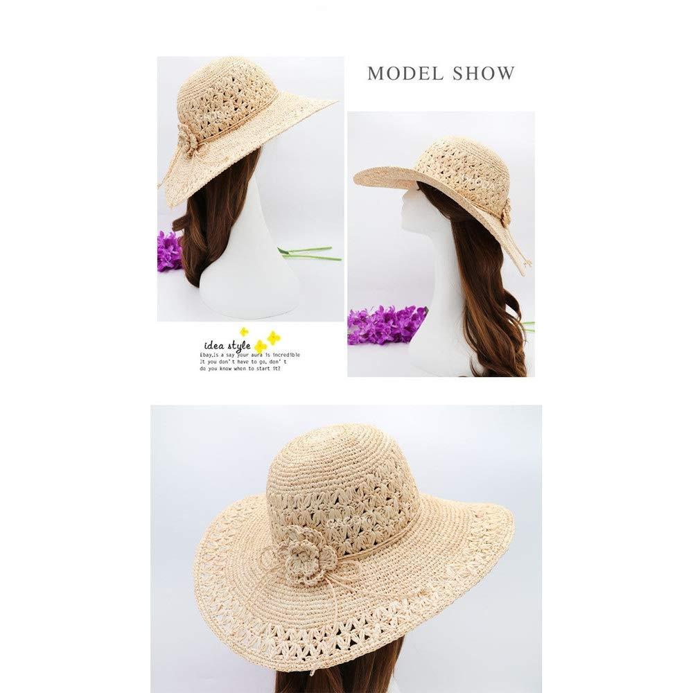 Sombrero de playa Para mujer Protector solar Protección UV Sombrilla Sombrero UPF50 Plegable Verano Crochet Sombrero de paja Sombrero de ala ancha Sol ...