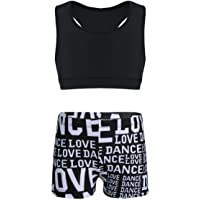 TiaoBug Kids Girls 2 Piece Sport Dance Outfit Crop Tank Top Booty Shorts Gymnastics Leotard Dancing Swimwear