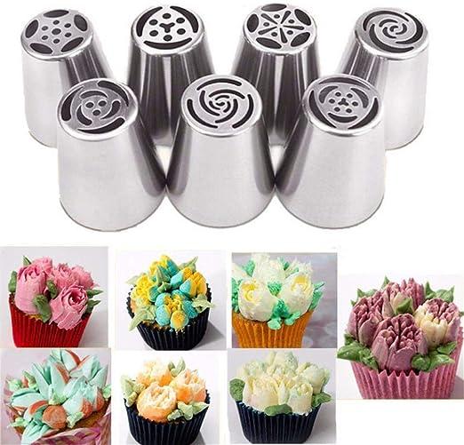 forma de hoja. fondant de acero inoxidable DUORUI 5 boquillas de glaseado para decoraci/ón de tartas