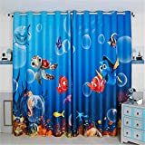 Cheap Jameswish Gorgeous 3D FINDING NEMO Cartoon Kids Curtains For Living Room Fashion Cute Thermal Insulation Hooked 1 Panel Blackout Window Curtains Suitable for Bedroom Theme Room Restaurant and Kitchen