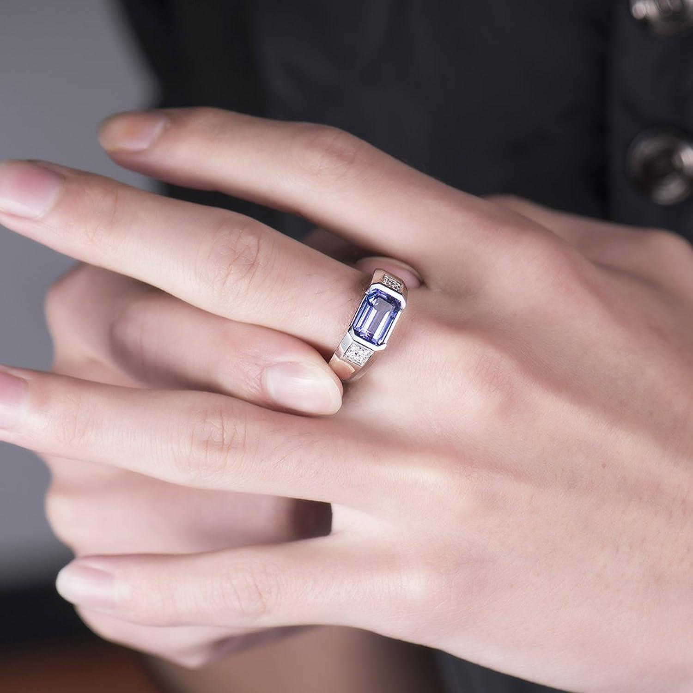Men\'s Jewelry Solid 14K White Gold Natural Tanzanite Diamond ...