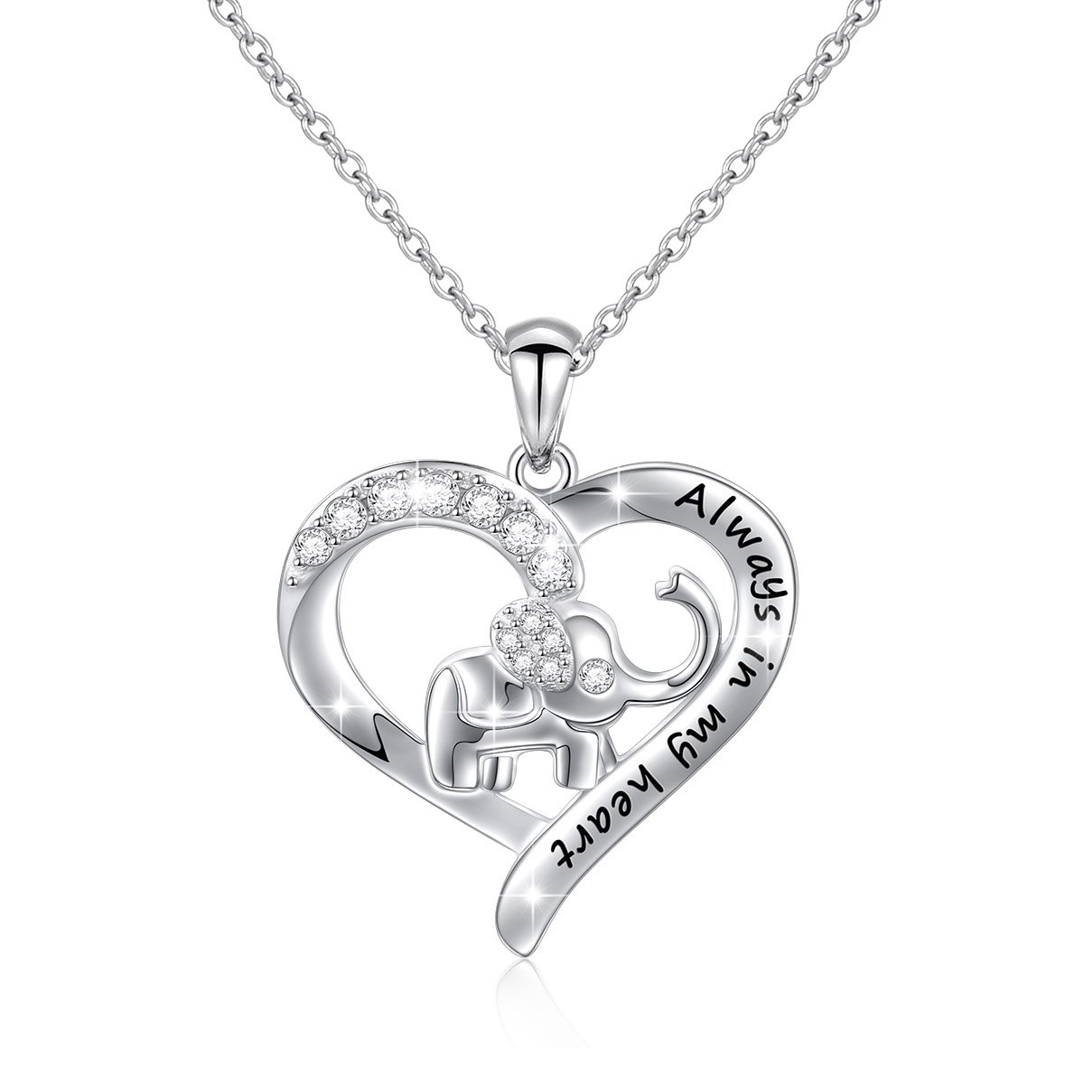 S925 Sterling Silver Lucky Elephant Love Heart Necklace for Women, 18'' Rolo Chain (Engraved Always in my heart)