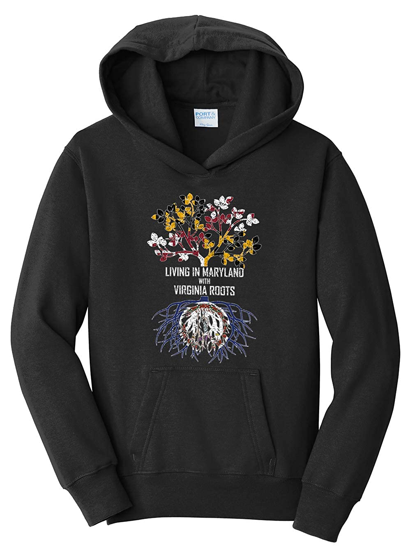 Tenacitee Girls Living in Maryland with Virginia Roots Hooded Sweatshirt