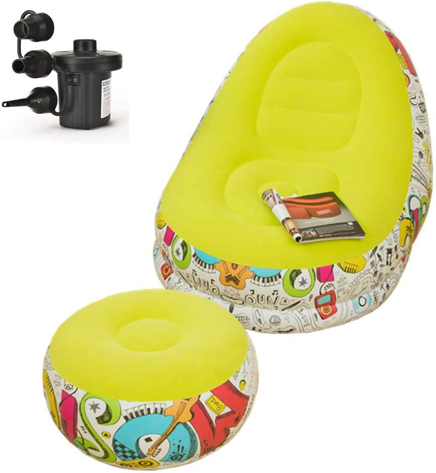 Inflatable Deck Chair with Household air Pump, Lounger Sofa for Indoor Living Room Bedroom, Outdoor Travel Camping Picnic (Graffiti with Green)