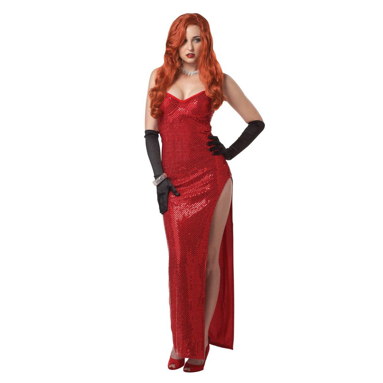 Jessica Rabbit Damen Kostüm Kleid rot Sexy Pailletten die gerahmt ...